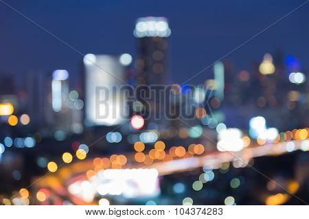Abstract blurred bokeh city road with office building background