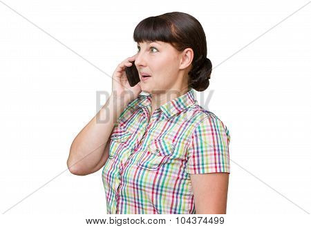 Girl Brunette Talking On A Cellular Phone
