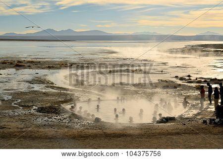 Tourists take a bath in hot springs in Southwestern Bolivia near Uyuni