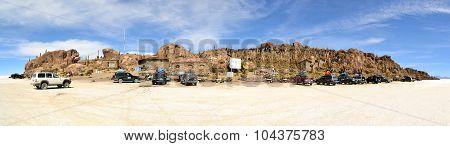 Tourist Jeeps at Isla Pescados Bolivian Salt Desert Uyuni