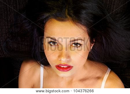 close up face of voluptuous girl derives pleasure