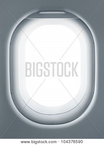 Airplane Window From Interior Of Aircraft.
