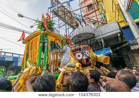 Hindu Devotees Praying To Lord Jagannath Idol On Rathjatra.