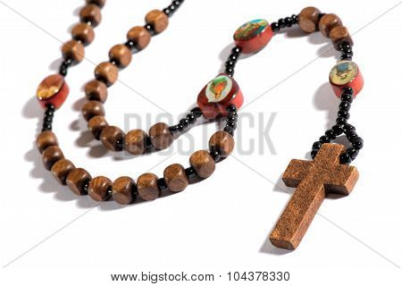 Roman Catholic Rosary On White