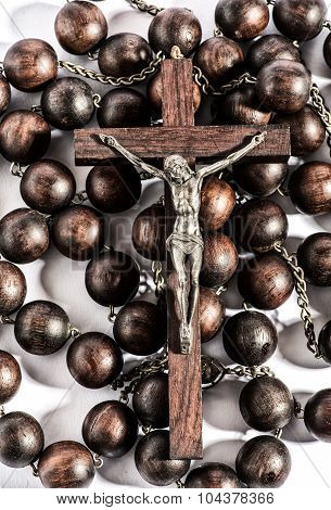 Wooden Rosary With A Crucifix