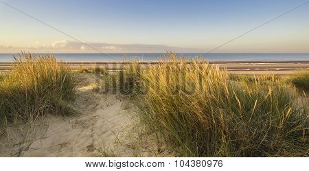 Beautiful Sunrise Over Sand Dunes System On Yellow Sand Golden Beach