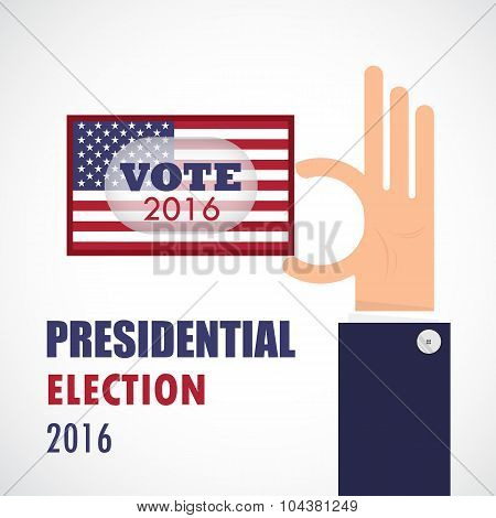Voting Concept.businessman Hand And Voting Paper With America Presidential Election 2016.