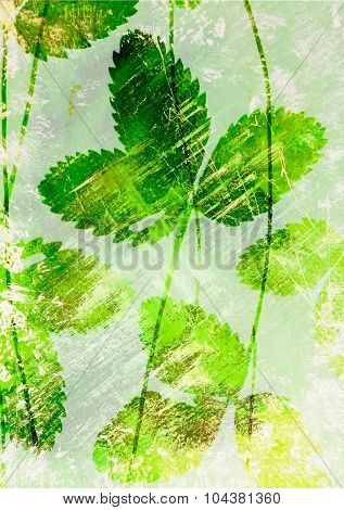 Abstract watercolor background and strawberry leaves
