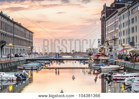 Canal Grande In Trieste City Center, Italy