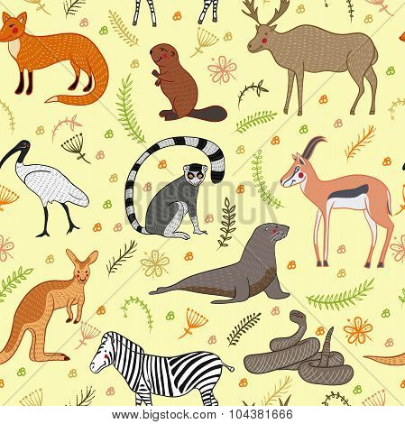 Seamless pattern with cartoon cute Animals vector set. Isolated vector illustration hand-drawn style