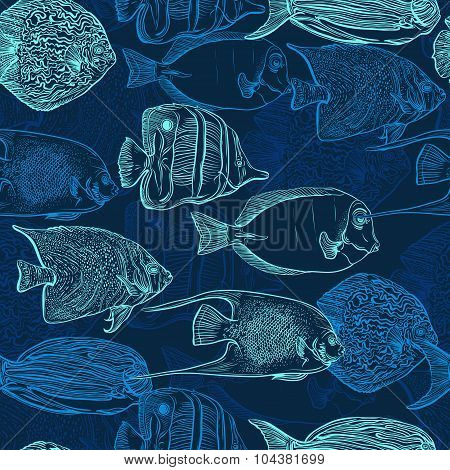 Seamless pattern with collection of tropical fish. Vintage set of hand drawn marine fauna. Vector il