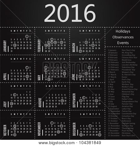 2016 calendar template with holidays, observances and events