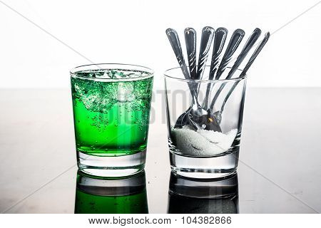 Concept Of Green Fizzy Drinks With Unhealthy Sugar Content