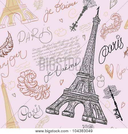 Paris. Vintage seamless pattern with Eiffel Tower, ancient keys, feathers and hand drawn lettering.