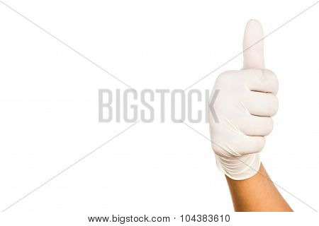 Hand In Surgical Latex Glove Gesture Thumbs Up Good