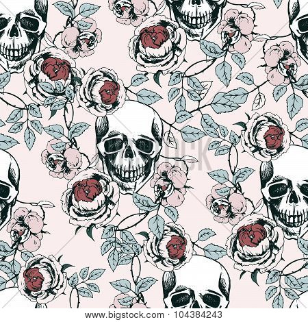 skull and roses pattern