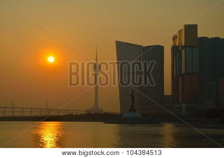 Skyline of macau city at outer harbour before sunset