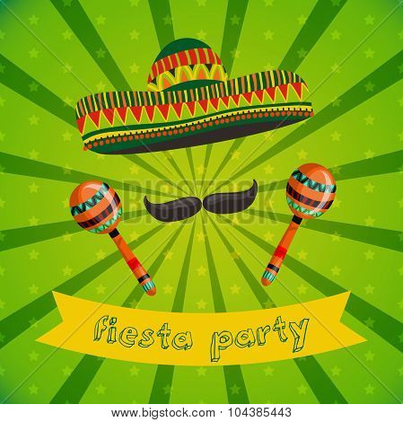 Mexican Fiesta Party Invitation with maracas, sombrero and mustache. Hand drawn vector illustration
