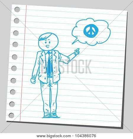 Businessman speaking peace sign