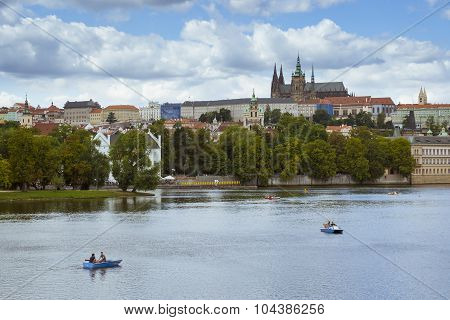 Scenic summer aerial view of the Prague Castle (Prazsky hrad) and Old Town