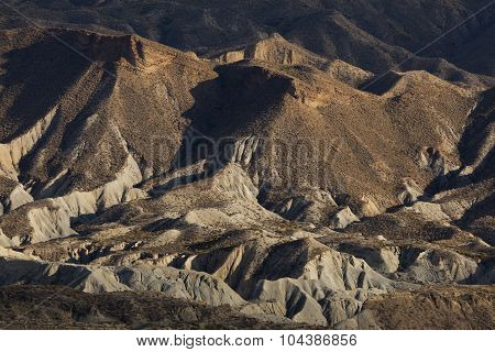 Badlands In The Desert Of Tabernas, Almeria, Andalucia, Spain