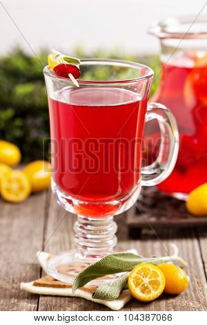 Cranberry and orange holiday punch with sage