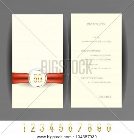 Anniversary 5th, 10th, 20th, 30th, 40th, 50th, 60th invitation card.