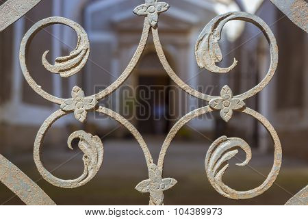 Decor wrought-iron lattice gate in the form of leaves of the plant