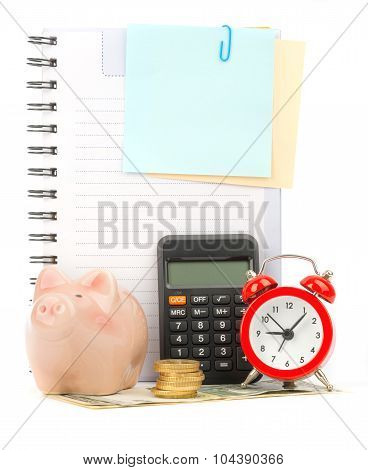 Copybook with calculator and coins