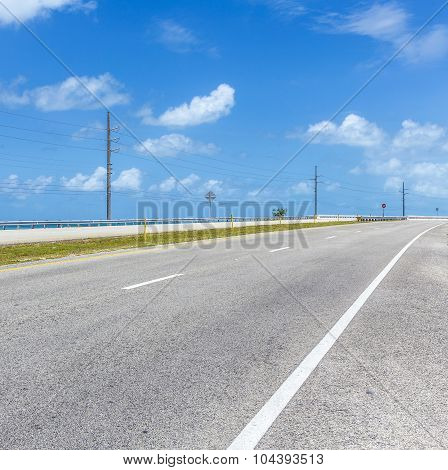 Empty Seven Mile Bridge In The Keys Near Key West