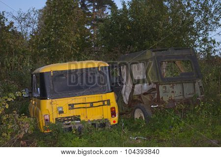 Old broken off-road cars UAZ