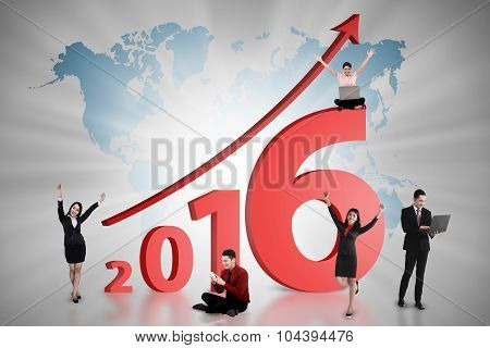 Happy Business Team Work On The Year 2016