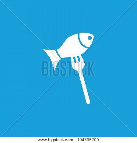 Fish on fork icon, white