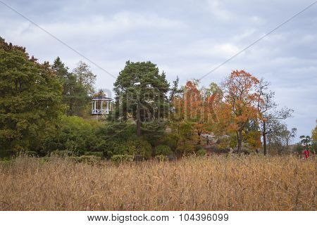 Empty gazebo on a cliff in the autumn Monrepos park
