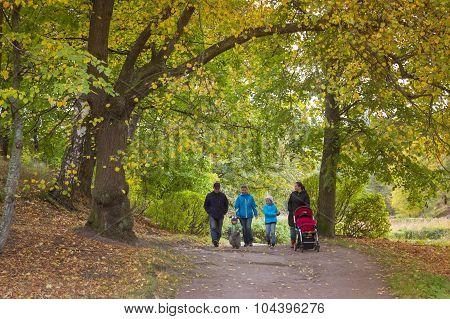 Family walks in the autumn Monrepos park