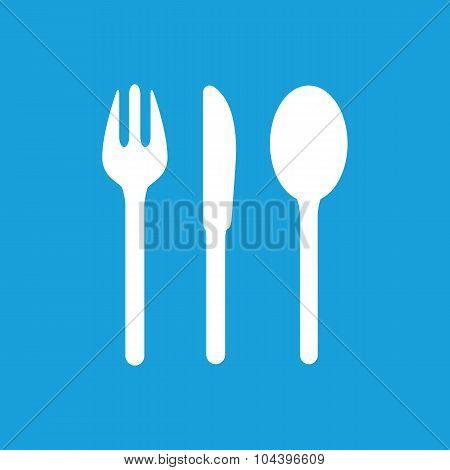 Table utensil icon, white