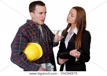 Worker and Businesswoman talking