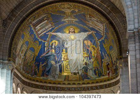 PARIS, FRANCE - SEPTEMBER 10, 2014: Interior view of Basilica of the Sacre Coeur on Montmartre Paris France