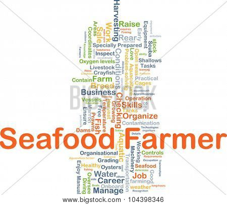 Background concept wordcloud illustration of seafood farmer