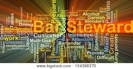 Background concept wordcloud illustration of bar steward glowing light