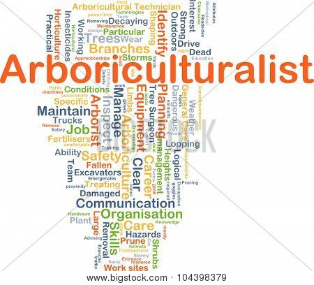 Background concept wordcloud illustration of arboriculturalist