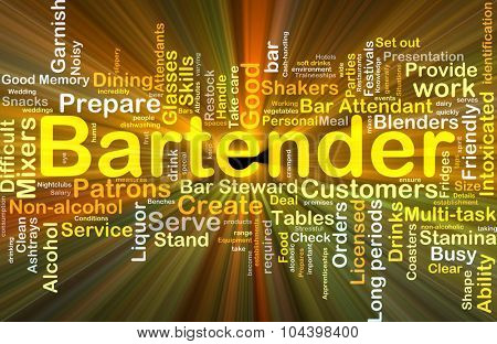 Background concept wordcloud illustration of bartender glowing light