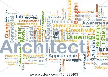 Background concept wordcloud illustration of architect