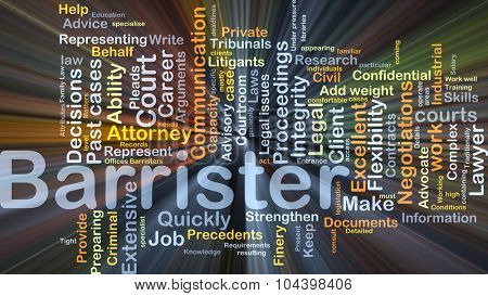 Background concept wordcloud illustration of barrister glowing light