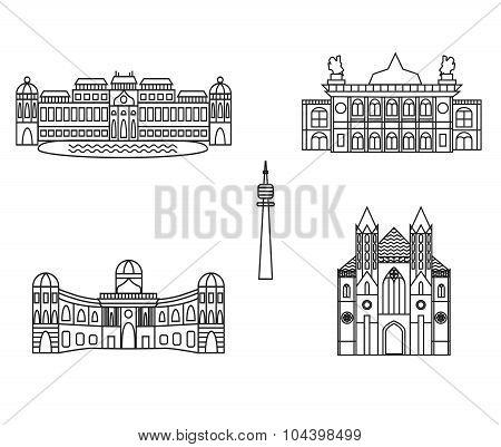 Vienna black silhouette city skyline buildings vector icon