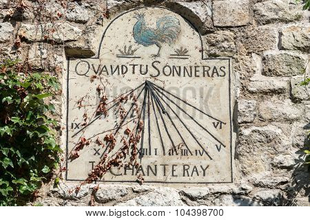 PARIS, FRANCE - SEPTEMBER 10, 2014: Old sun dial in Montmartre. Paris France