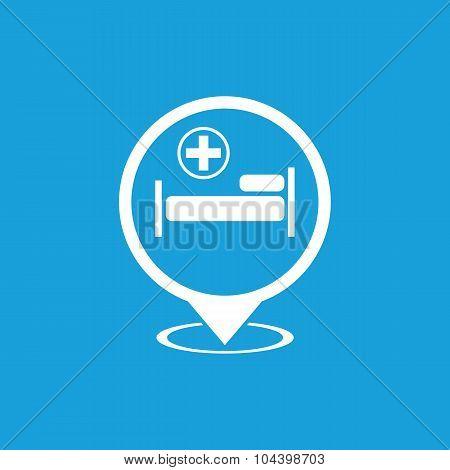 Hospital map pointer icon, white