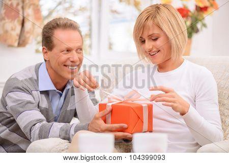 Loving couple celebrating St Valentine day