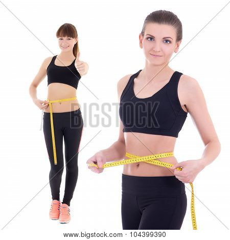 Weightloss Concept - Beautiful Slim Sporty Women With Measure Tape Isolated On White