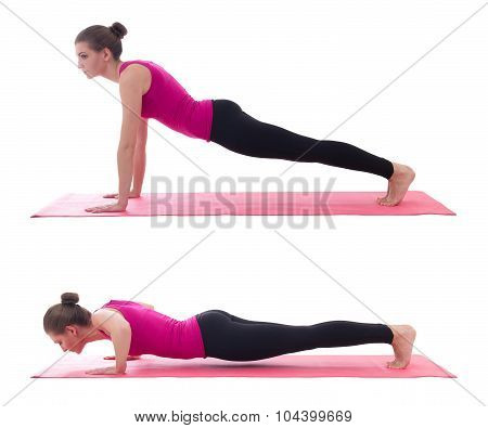 Sport Concept, Push Up Instruction -  Beautiful Woman Doing Push Up Exercise On Yoga Mat Isolated On